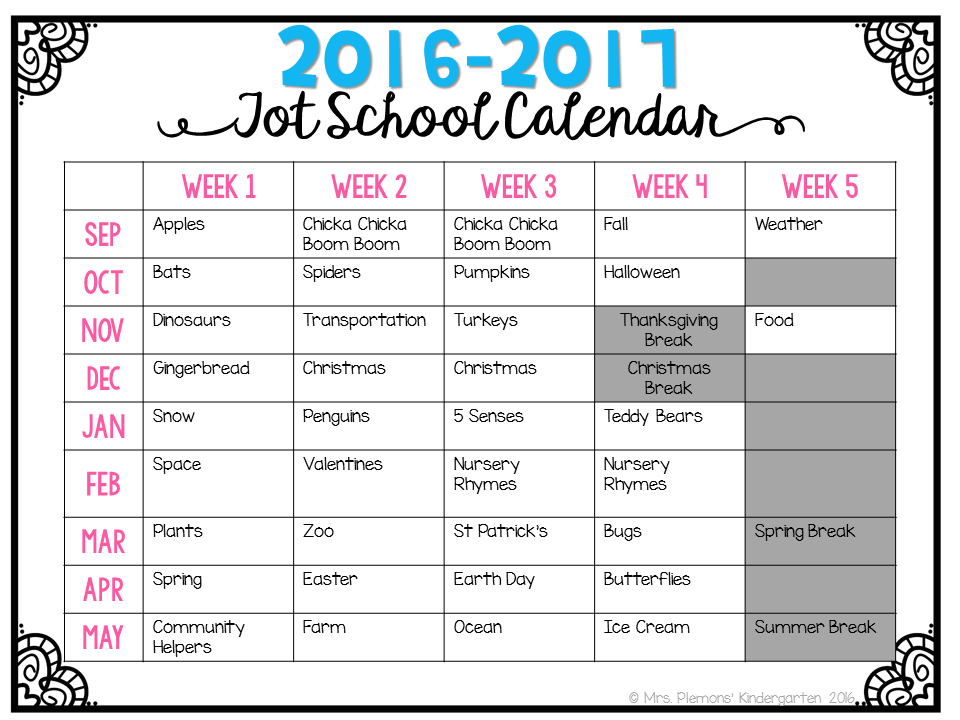 Kindergarten Year Calendar : Tot school is back mrs plemons kindergarten