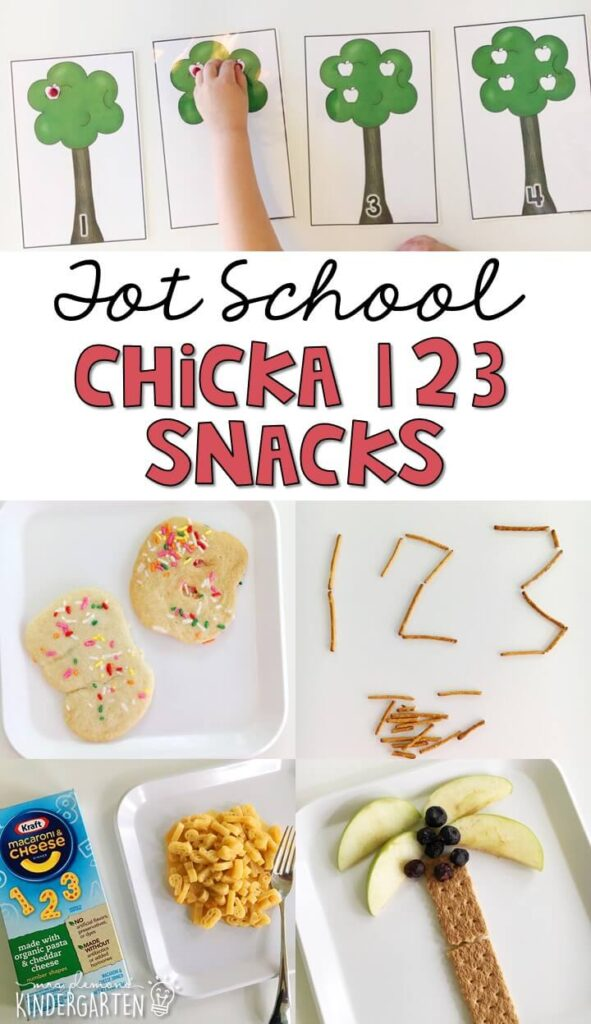 These yummy number themed snacks are perfect for a Chicka Chicka 123 theme in tot school, preschool, or kindergarten!