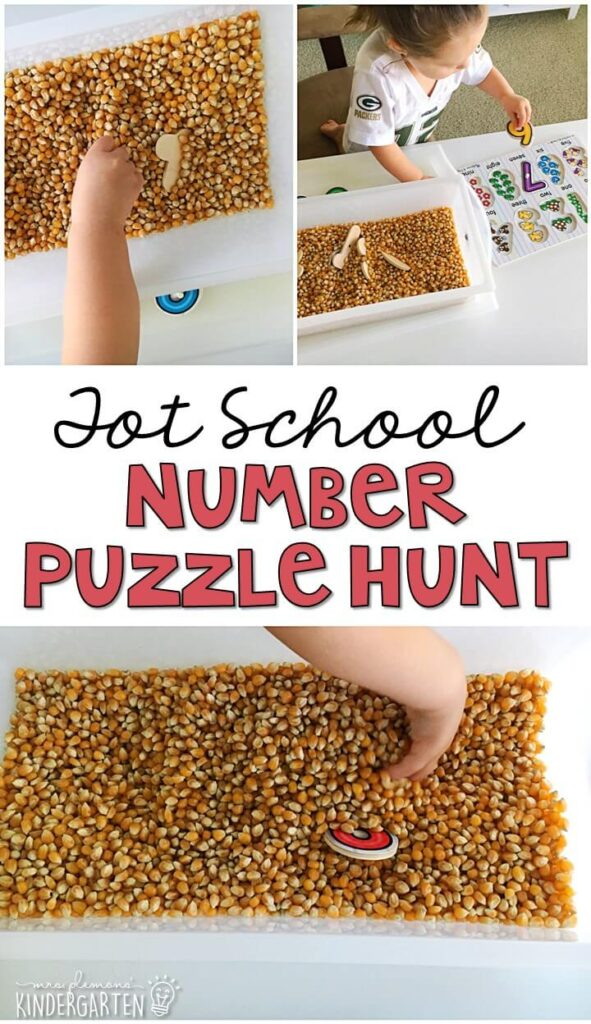 We LOVE this number hunt and match sensory bin. Great for a Chicka Chicka 123 theme in tot school, preschool, or even kindergarten!