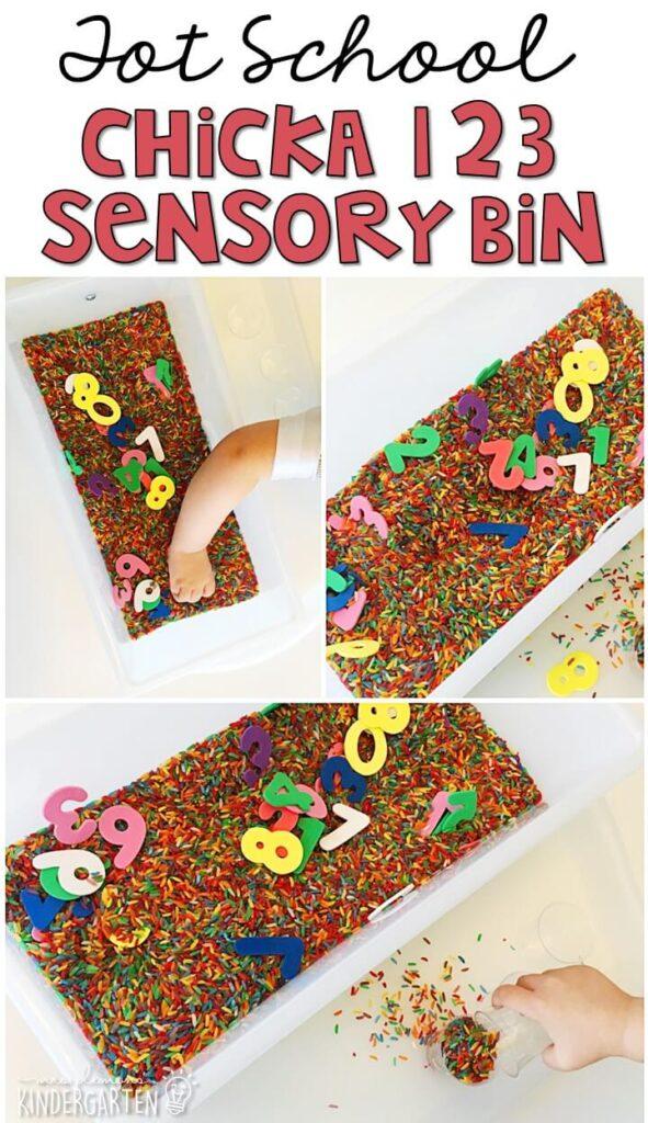 We LOVE this Chicka Chicka 123 sensory bin. Great for tot school, preschool, or even kindergarten!