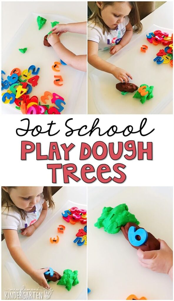 We LOVE this play dough tree sensory activity to go with Chicka Chicka 123. Great for tot school, preschool, or even kindergarten!