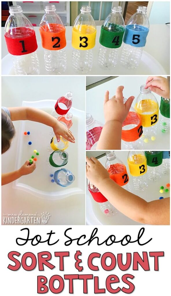 Sort and Count Bottles are fun for number identification, counting, and fine motor practice with a Chicka Chicka 123 theme. Great for tot school, preschool, or even kindergarten!