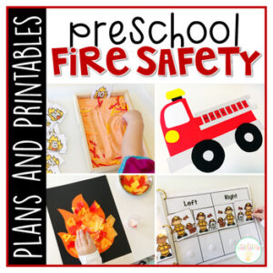 Tons of fire safety themed activities and ideas. Weekly plan includes books, literacy, math, science, art, sensory bins, and more! Perfect for fall in tot school, preschool, or kindergarten.