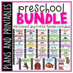 45 weeks of engaging themed activities and ideas ready to go for your 3-4 year old. Weekly plans include reading comprehension, literacy, math, sensory play, arts & crafts and Science/social studies concepts. Everything you need for a year packed full of Preschool fun and learning.