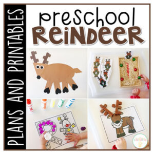 Tons of reindeer themed activities and ideas. Weekly plan includes books, literacy, math, science, art, sensory bins, and more! Perfect for tot school, preschool, or kindergarten.