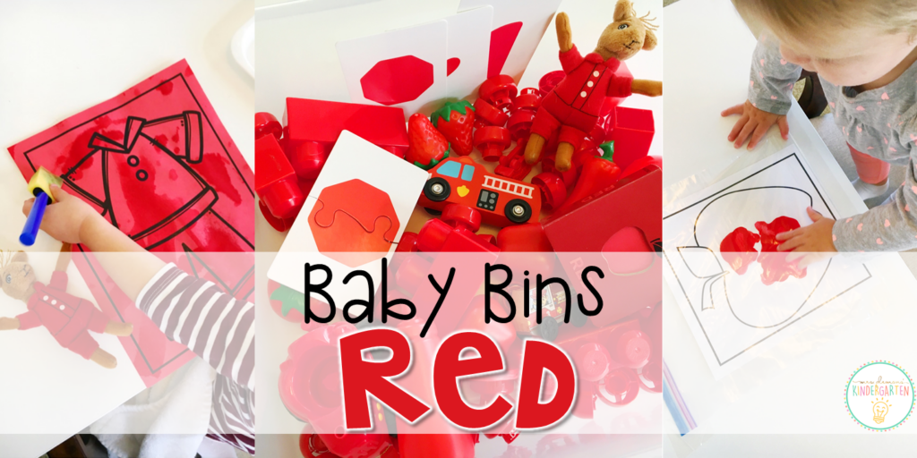 Tons of red themed activities and ideas. Weekly plans include a book and 5 activities to try out (a mixture of sensory bins, crafts, fine motor and gross motor activities)! These Baby Bin plans are perfect for learning with little ones between 12-24 months old.