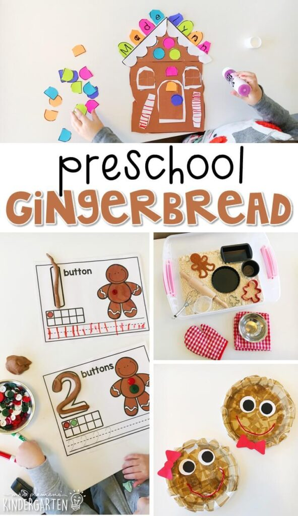Tons of gingerbread themed activities and ideas. Weekly plan includes books, literacy, math, science, art, sensory bins, and more! Perfect for tot school, preschool, or kindergarten.