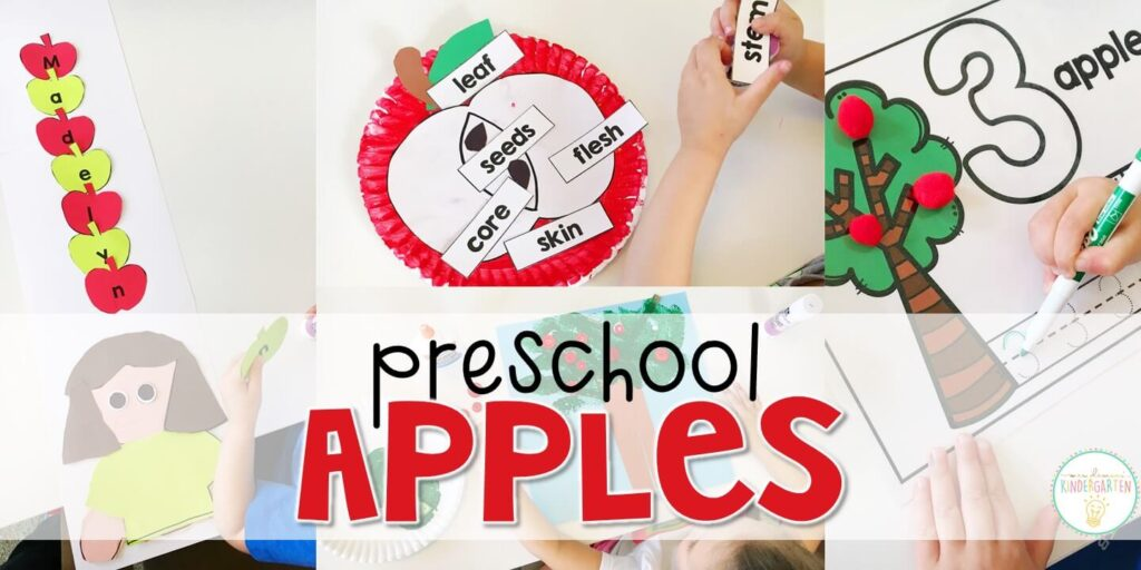 Tons of apple themed activities and ideas. Weekly plan includes books, literacy, math, science, art, sensory bins, and more! Perfect for fall in tot school, preschool, or kindergarten.