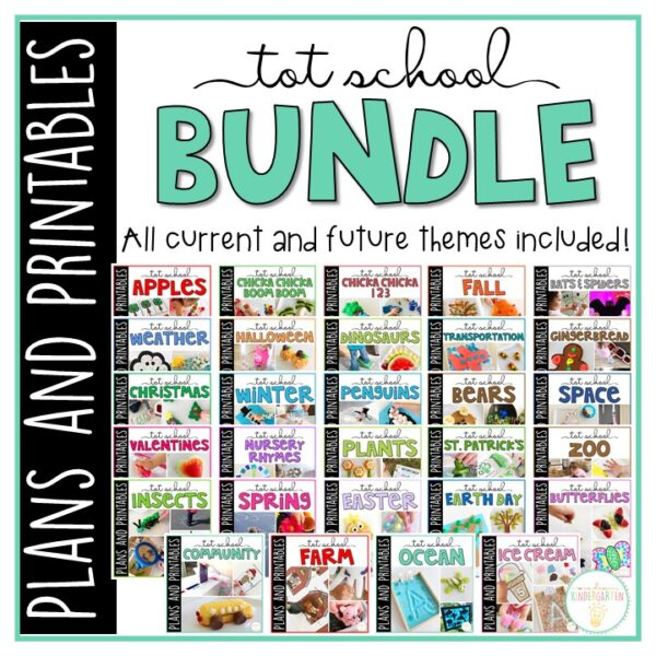 45 Weeks of engaging themed activities and ideas ready to go for your 2-3 year old. Weekly plans include suggested books, fine motor activities, gross motor ideas, sensory bins, snacks and more! Everything you need for a year packed full of Tot School fun and learning.