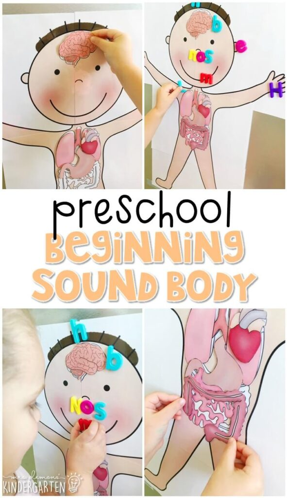 This beginning sound body activity is great for letter sound practice and fine motor practice with a human body theme. Great for tot school, preschool, or even kindergarten!