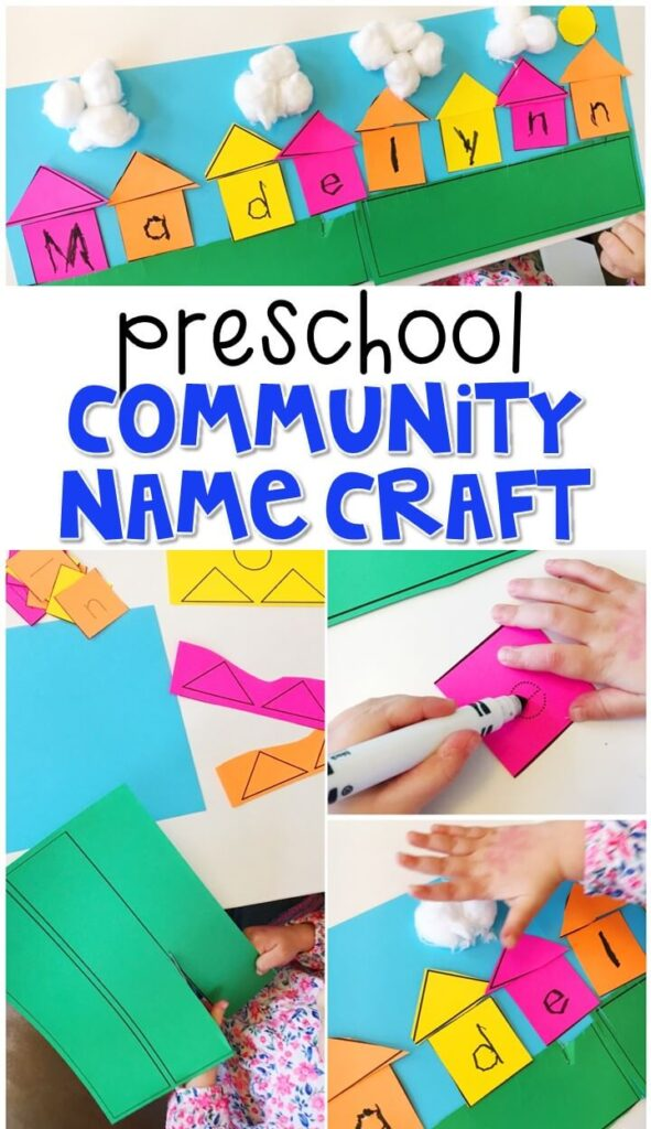 This neighborhood name craftivity is fun for name writing, recognition, and fine motor practice with a community theme. Great for tot school, preschool, or even kindergarten!