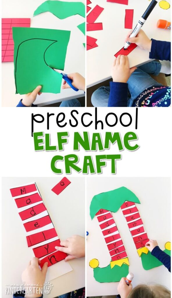 This elf name craftivity is fun for name writing, recognition, and fine motor practice with a Christmas theme. Great for tot school, preschool, or even kindergarten!
