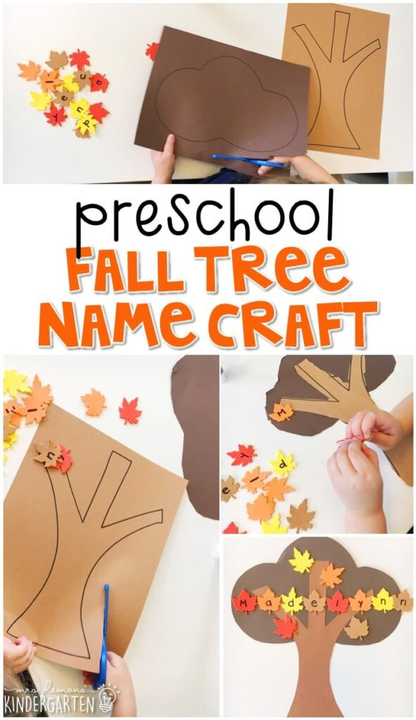 This fall tree craftivity is fun for name and fine motor practice with a fall theme. Great for tot school, preschool, or even kindergarten!