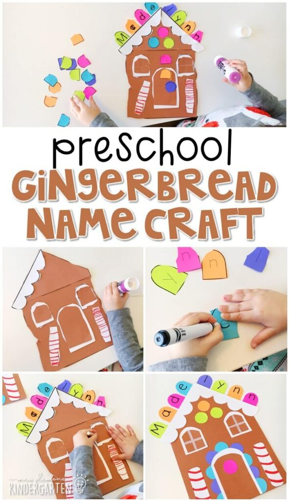 This gingerbread house name craftivity is fun for name writing, recognition, and fine motor practice with a gingerbread theme. Great for tot school, preschool, or even kindergarten!