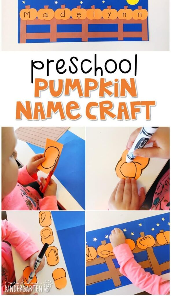 This pumpkin name craftivity is fun for name writing, recognition, and fine motor practice with a Halloween theme. Great for tot school, preschool, or even kindergarten!