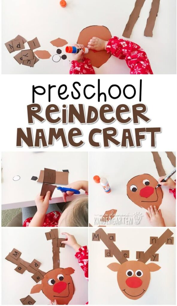 This reindeer name craftivity is fun for name writing, recognition, and fine motor practice with a reindeer theme. Great for tot school, preschool, or even kindergarten!