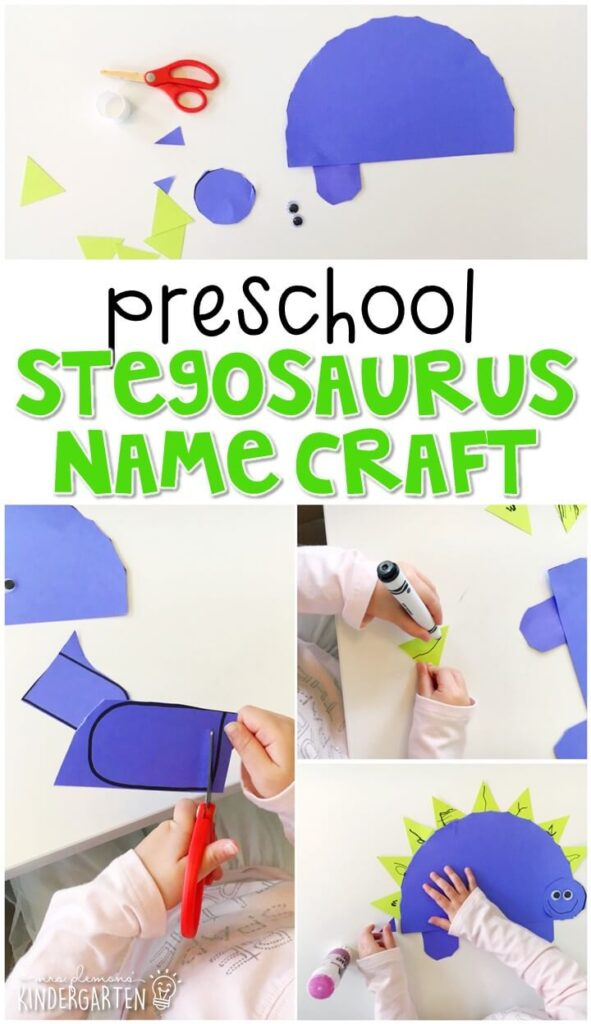 This stegosaurus name craftivity is fun for name writing, recognition, and fine motor practice with a dinosaur theme. Great for tot school, preschool, or even kindergarten!