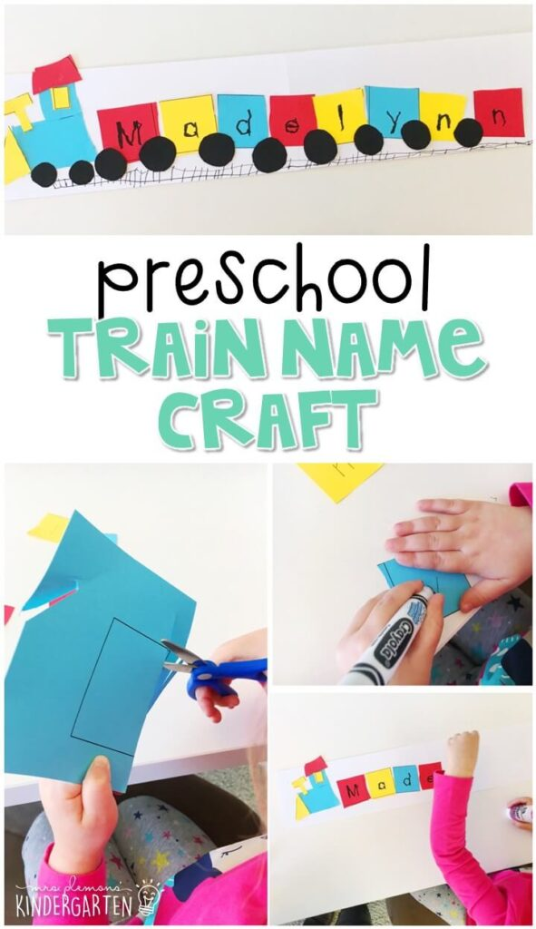 This train name craftivity is fun for name writing, recognition, and fine motor practice with a transportation theme. Great for tot school, preschool, or even kindergarten!