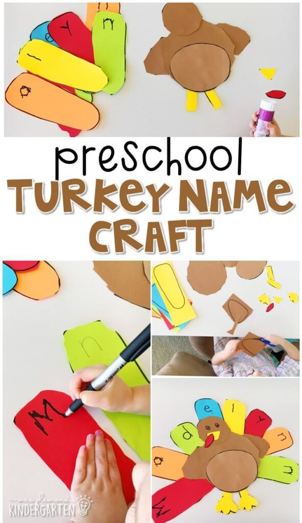 This turkey name craftivity is fun for name writing, recognition, and fine motor practice with a Thanksgiving theme. Great for tot school, preschool, or even kindergarten!