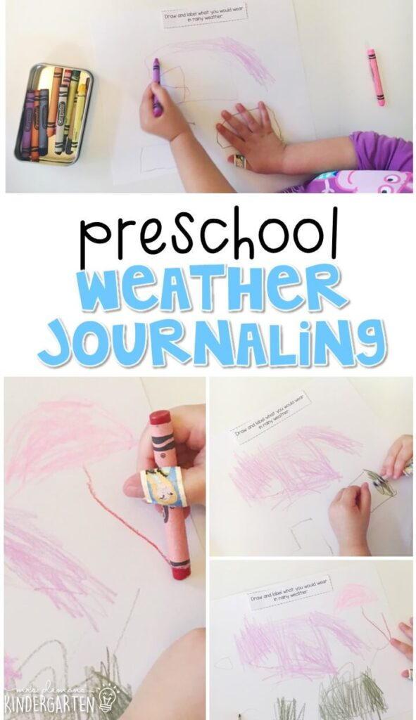 This weather journal writing activity is a great way to show learning, practice fine motor skills and learn about writing. Great for tot school, preschool, or even kindergarten!