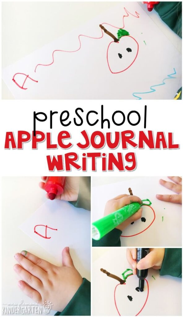 Apple journal writing is a great way to show learning, practice fine motor skills and learn about writing. Great for tot school, preschool, or even kindergarten!