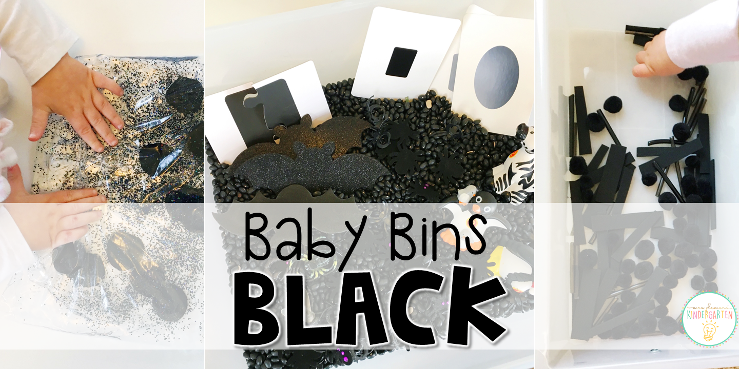 These black themed sensory bins and activities are great for learning colors and completely baby safe. Baby Bins are the perfect way to learn, build language, play and explore with little ones between 12-24 months old.
