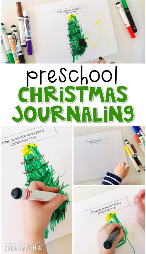 This Christmas journal writing activity is a great way to show learning, practice fine motor skills and learn about writing. Great for tot school, preschool, or even kindergarten!