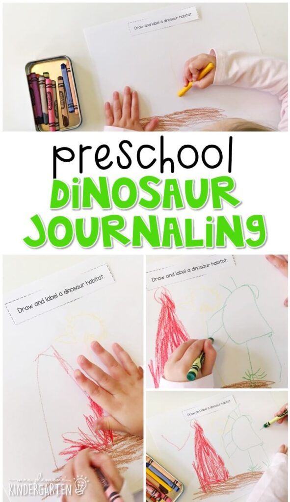 This dinosaur journal writing activity is a great way to show learning, practice fine motor skills and learn about writing. Great for tot school, preschool, or even kindergarten!
