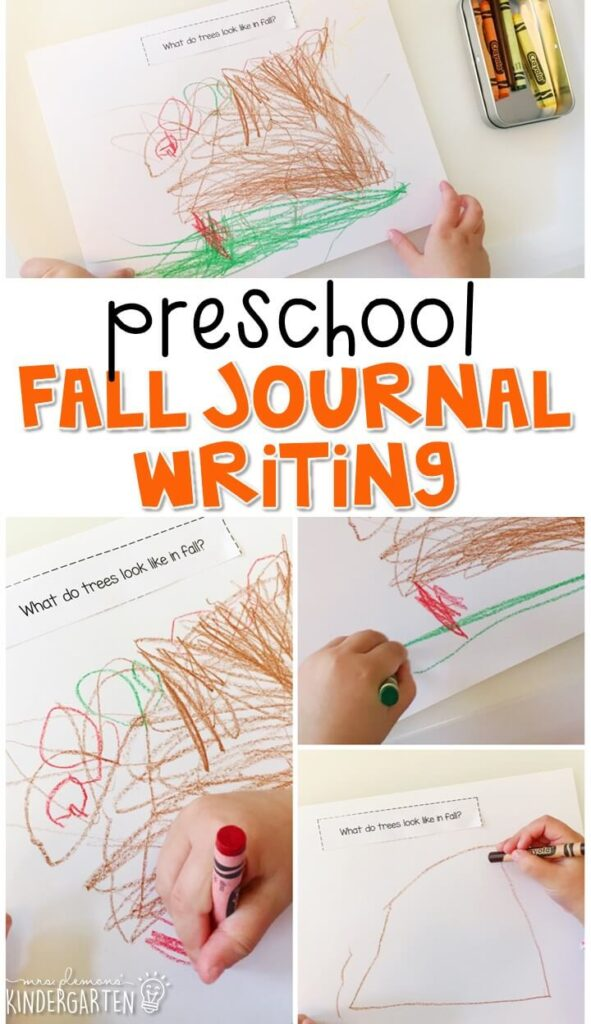 This fall journal writing activity is a great way to show learning, practice fine motor skills and learn about writing. Great for tot school, preschool, or even kindergarten!