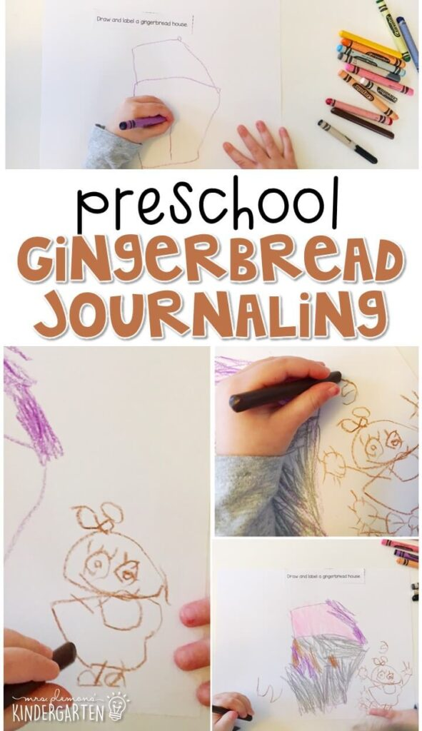 This gingerbread journal writing activity is a great way to show learning, practice fine motor skills and learn about writing. Great for tot school, preschool, or even kindergarten!