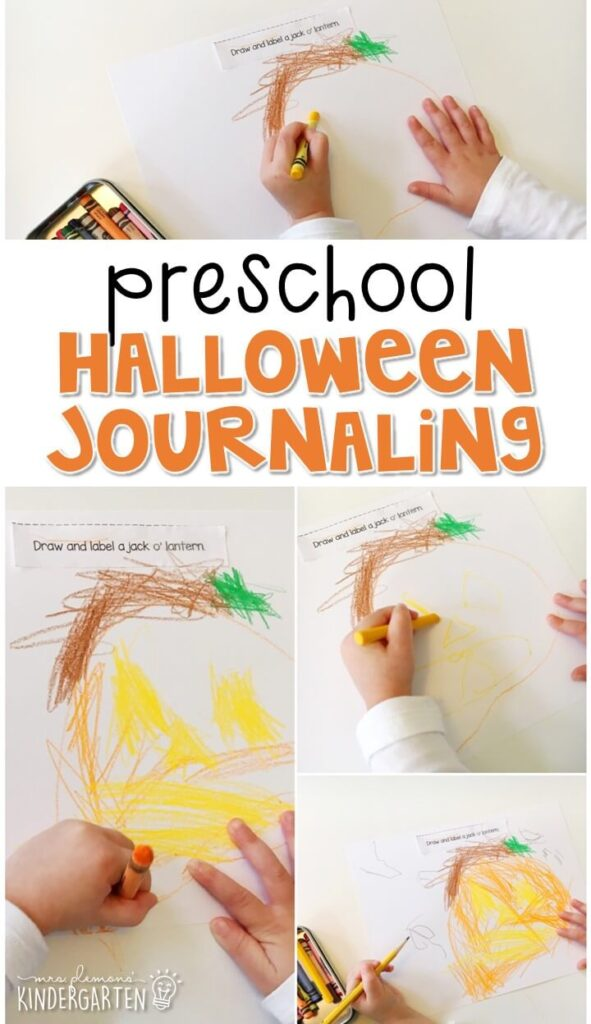 This Halloween journal writing activity is a great way to show learning, practice fine motor skills and learn about writing. Great for tot school, preschool, or even kindergarten!