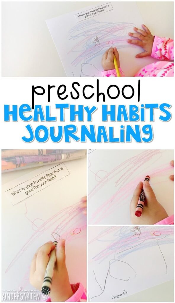 This healthy habits journal writing activity is a great way to show learning, practice fine motor skills and learn about writing. Great for tot school, preschool, or even kindergarten!