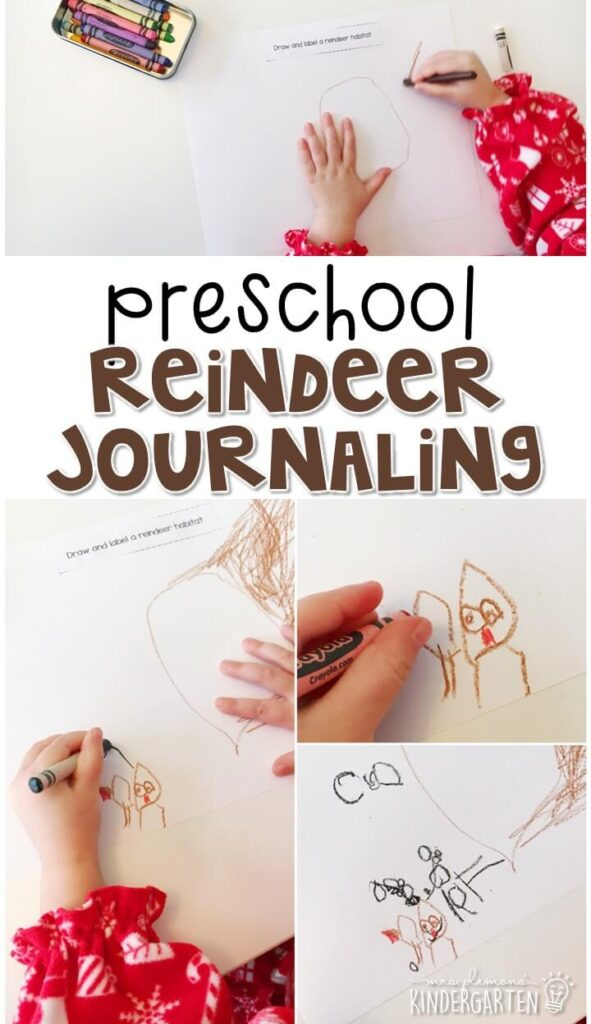This reindeer journal writing activity is a great way to show learning, practice fine motor skills and learn about writing. Great for tot school, preschool, or even kindergarten!