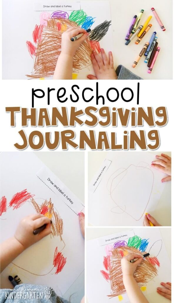 This Thanksgiving journal writing activity is a great way to show learning, practice fine motor skills and learn about writing. Great for tot school, preschool, or even kindergarten!
