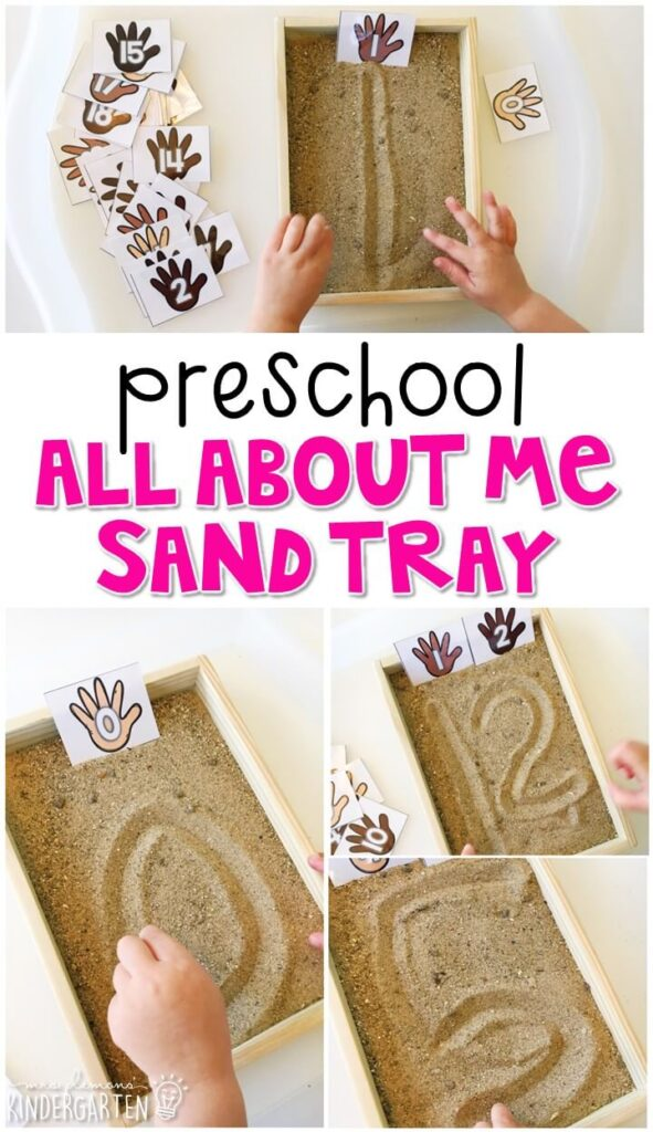 This all about me sand tray is fun for number writing and fine motor practice with an all about me theme. Great for tot school, preschool, or even kindergarten!