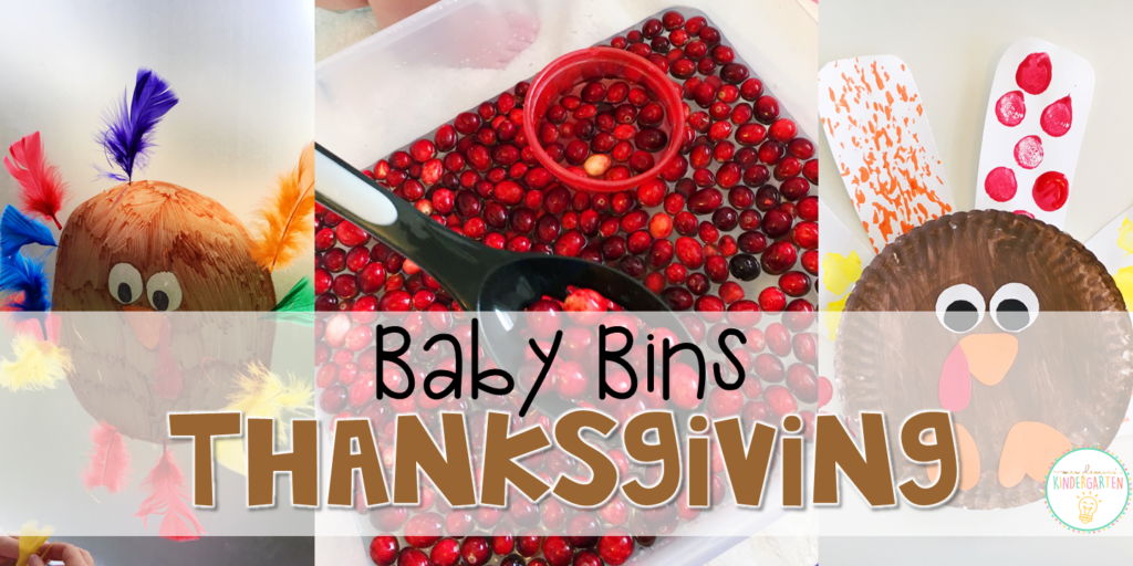 These Thanksgiving themed sensory bins and activities are great for learning and play in the fall and are completely baby safe. Baby Bins are the perfect way to learn, build language, play and explore with little ones between 12-24 months old.