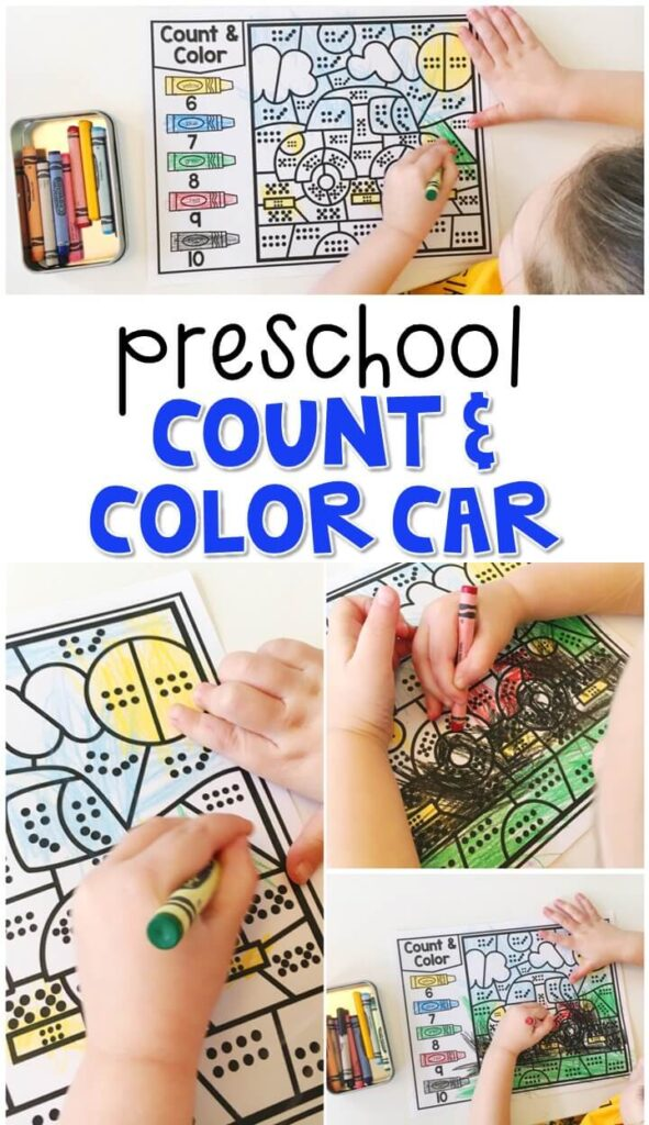 This count & color car activity is a fun way to work on number sense and fine motor skills with a community theme. Great for tot school, preschool, or even kindergarten!