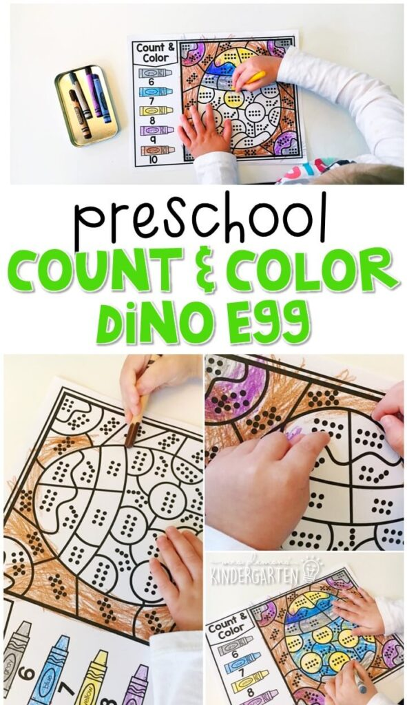 This dinosaur egg count & color activity is fun for number sense and fine motor practice with a dinosaur theme. Great for tot school, preschool, or even kindergarten!