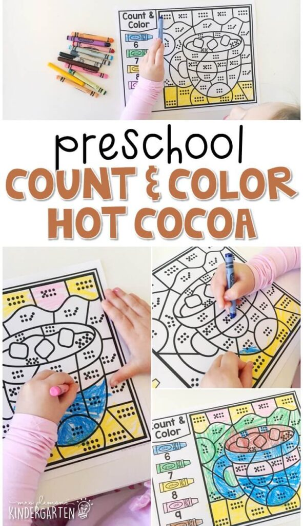 This hot cocoa count & color activity is fun for number sense and fine motor practice with a gingerbread theme. Great for tot school, preschool, or even kindergarten!