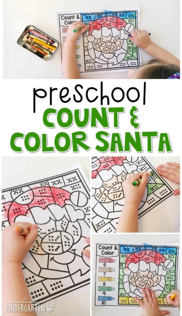 This Santa count & color activity is fun for number sense and fine motor practice with a Christmas theme. Great for tot school, preschool, or even kindergarten!