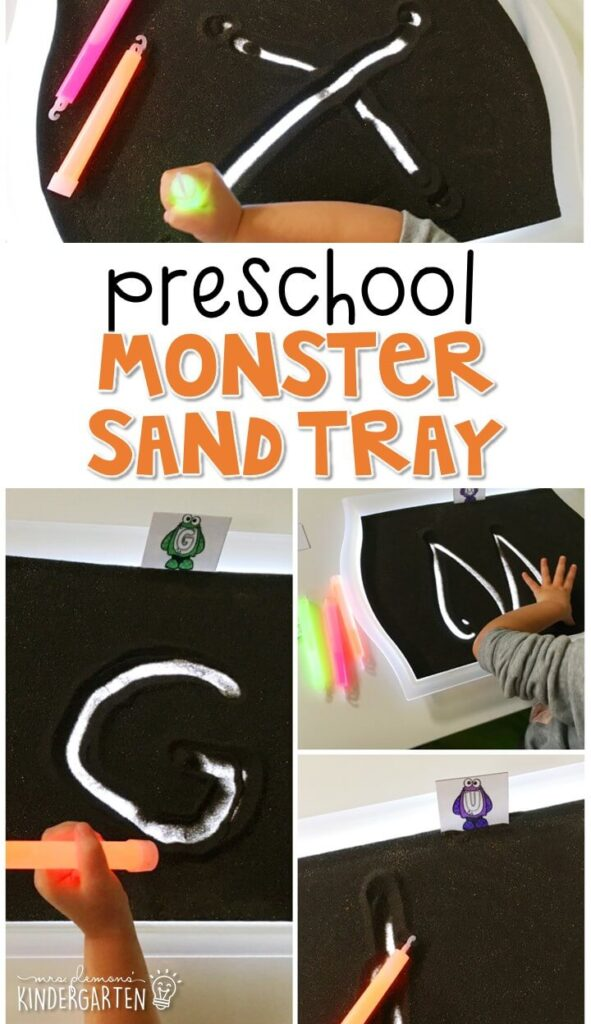 This monster themed sand tray is great for number writing and fine motor practice with a Halloween theme. Great for tot school, preschool, or even kindergarten!