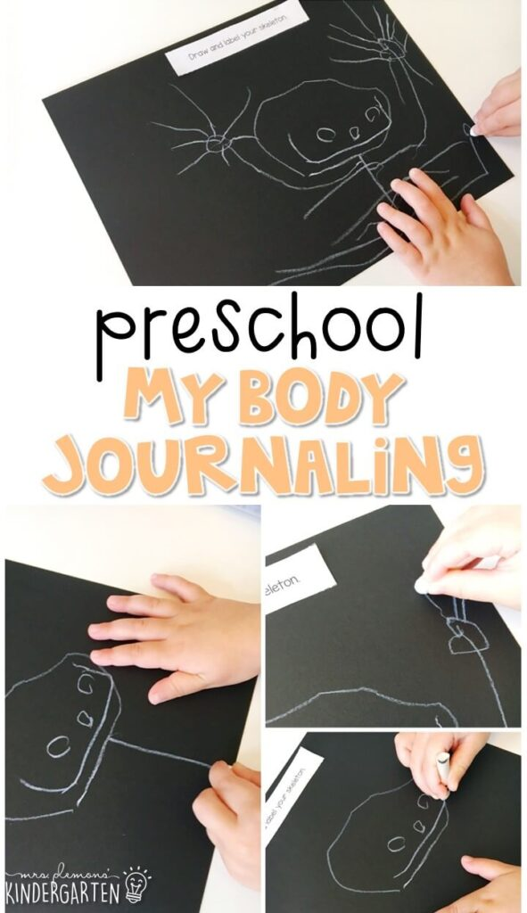 This human body journal writing activity is a great way to show learning, practice fine motor skills and learn about writing. Great for tot school, preschool, or even kindergarten!