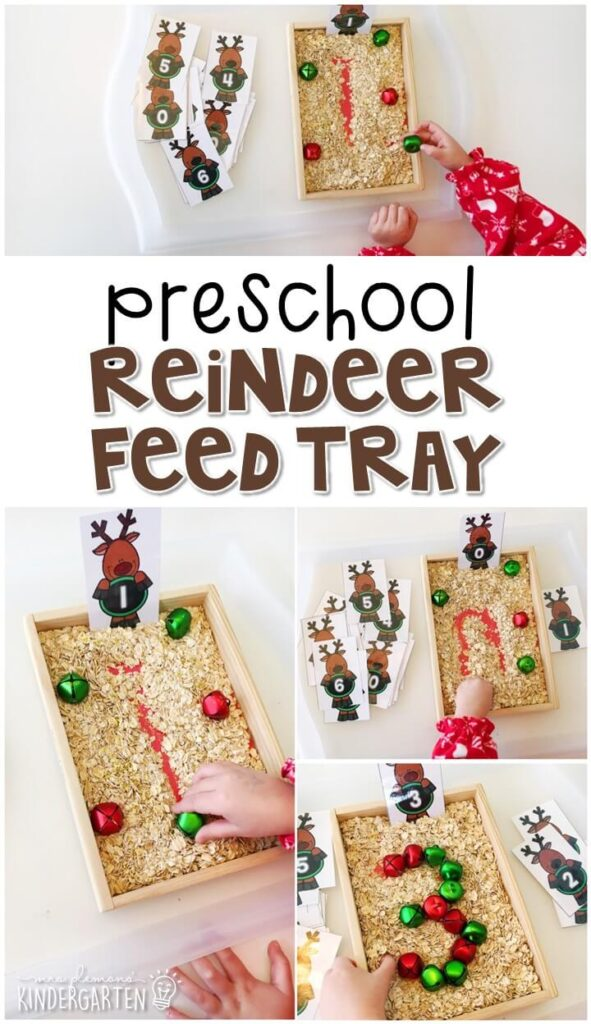 This magic reindeer feed themed tray is great for number writing and fine motor practice with a reindeer theme. Great for tot school, preschool, or even kindergarten!