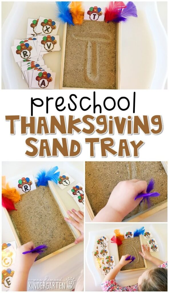 This turkey themed sand tray is great for number writing and fine motor practice with a Thanksgiving theme. Great for tot school, preschool, or even kindergarten!