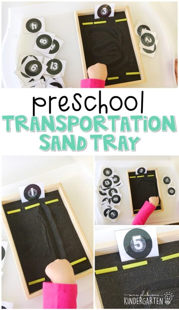 This road themed sand tray is great for number writing and fine motor practice with a transportation theme. Great for tot school, preschool, or even kindergarten!