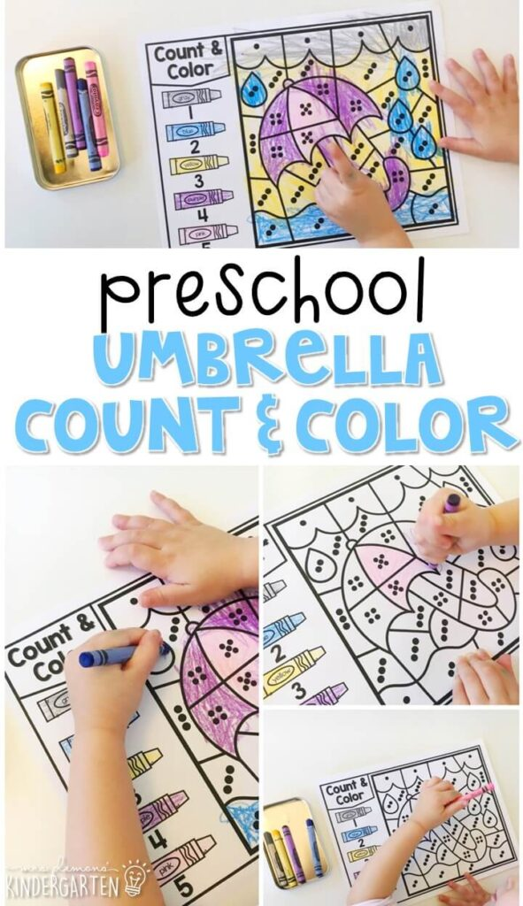 This umbrella count & color activity is fun for number sense and fine motor practice with a weather theme. Great for tot school, preschool, or even kindergarten!
