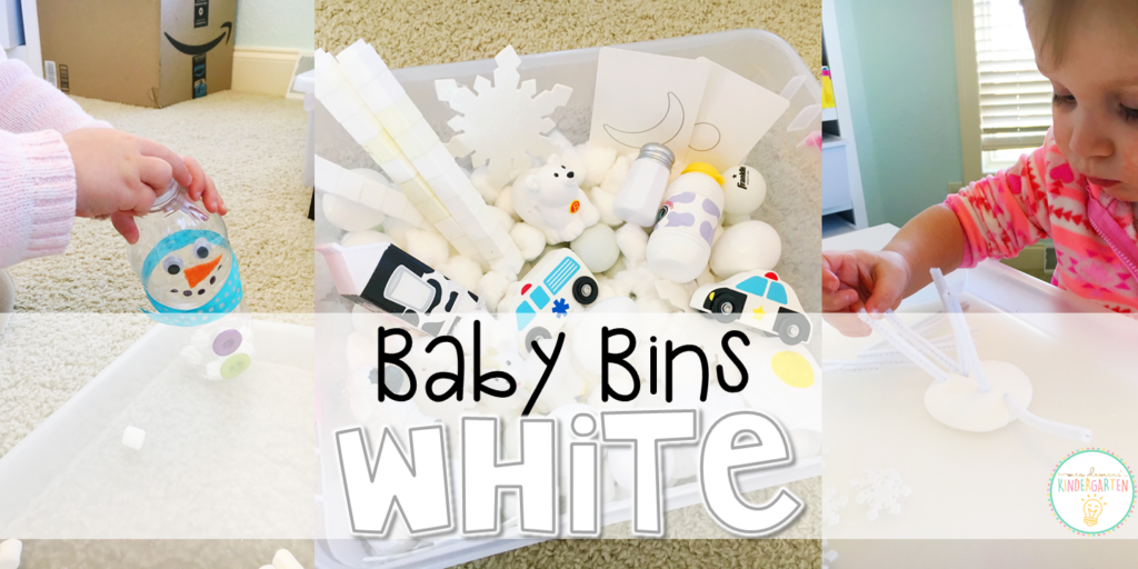 These white themed sensory bins and activities are great for learning colors and completely baby safe. Baby Bins are the perfect way to learn, build language, play and explore with little ones between 12-24 months old.