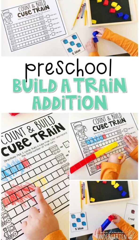Practice addition, counting, and fine motor skills with this build a train addition activity. Perfect for a transportation theme in tot school, preschool, or even kindergarten!