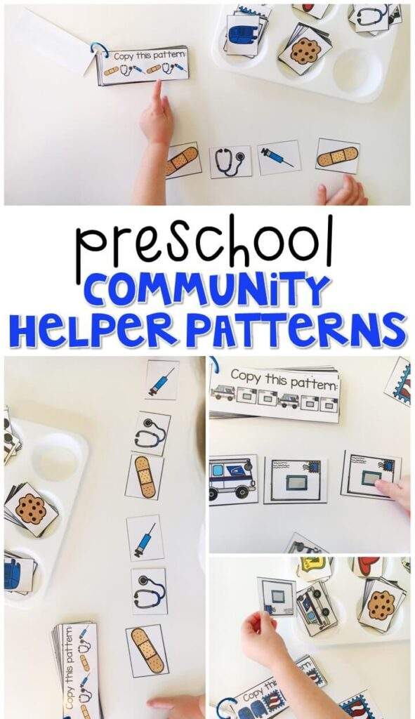 Practice patterning with these community helper pattern cards. Use the examples for matching, then extending and creating your own patterns. Perfect for tot school, preschool, or even kindergarten!