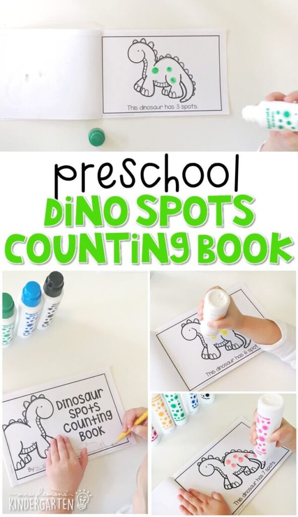 Practice counting and fine motor skills with this dino spot counting book. Perfect for a dinosaur theme in tot school, preschool, or even kindergarten!